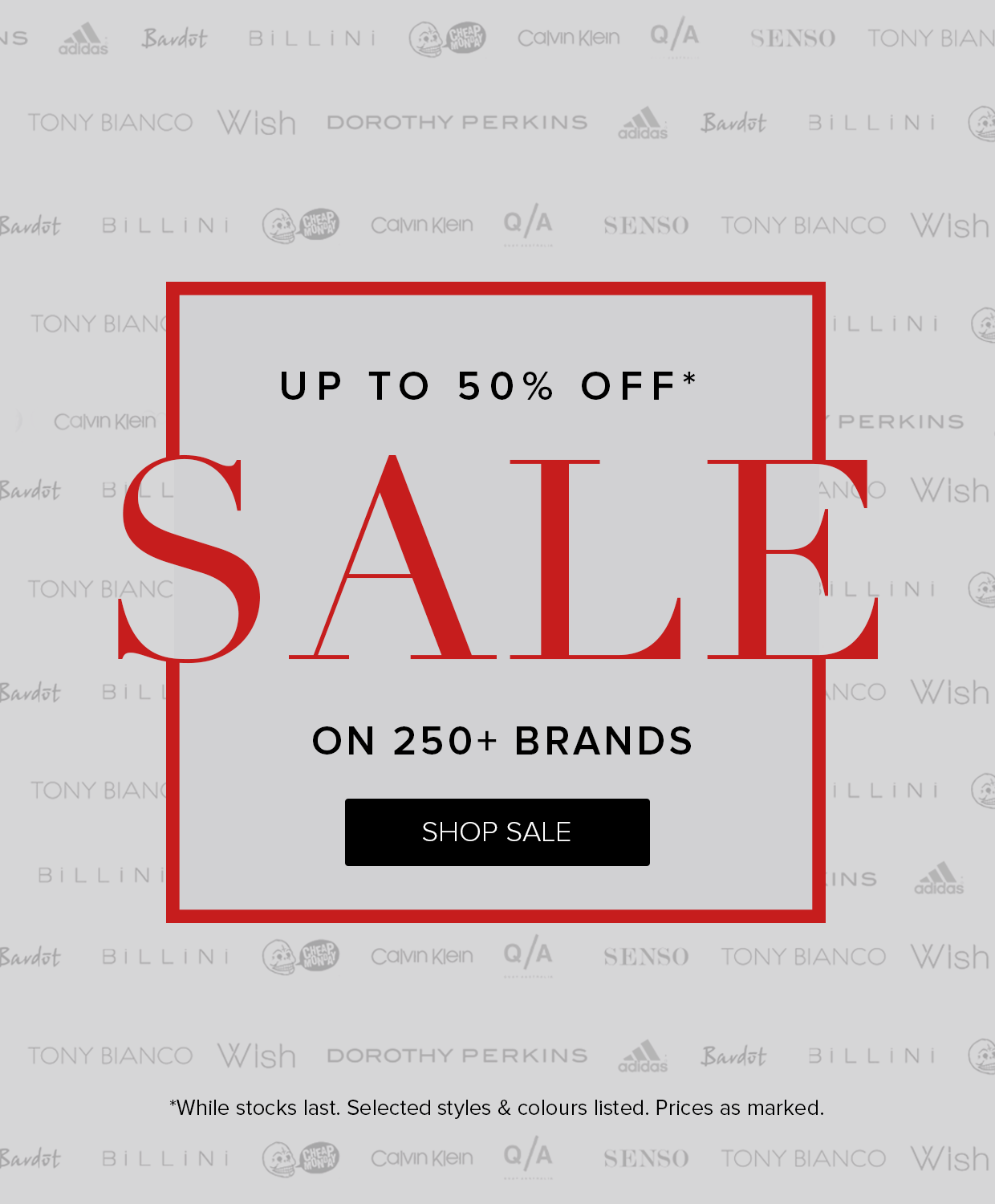 Save up to 50% off on over 250 brands sale at The Iconic.