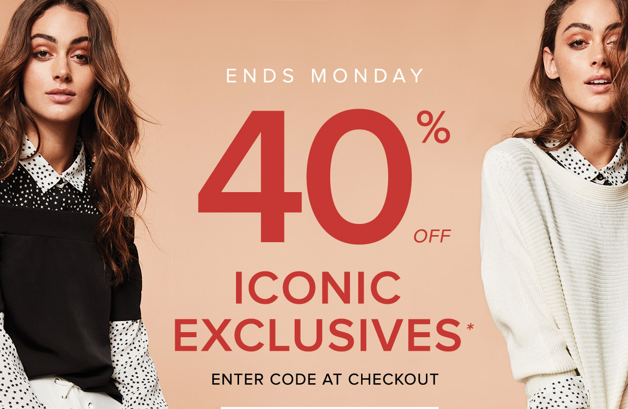Save 40% off iconic exclusives at TheIconic.